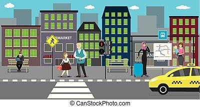 public, route, rue, transport, ville, stop.