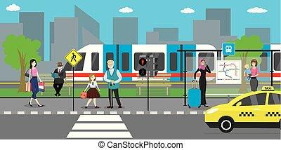 public, route, transport-, métro, rue, ville, taxi