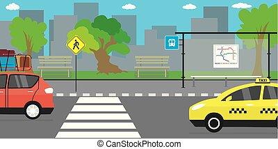 public, route, vie, rue vide, transport, ville, arrêt, urbain, concept
