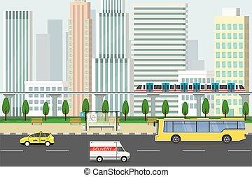 public, rue vide, transport, gratte-ciel, vue, ville, fond