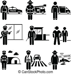 A set of pictograms representing the jobs and careers in public safety and security. They are policeman, fireman, EMT (Emergency Medical Technician), security guard, watchman, bodyguard, army, traffic officer, and detective.