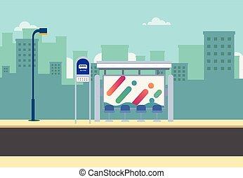public, scene., arrêt, route, rue, urban., thaï, principal, ville, arrière-plan., ville, cityscape, autobus, beau, plat