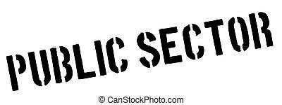 Public Sector black rubber stamp on white. Print, impress,...