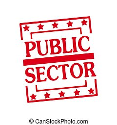 PUBLIC SECTOR red stamp text on squares on white background