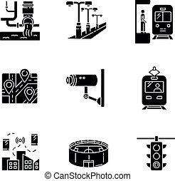 Public service regulation black glyph icons set on white space