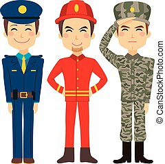 Public Service Worker People - Illustration of three young ...