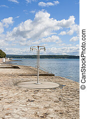 public shower on the beach. croatia