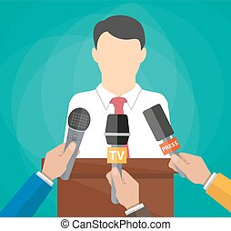 Public speaker and hands of journalists with microphones. ...