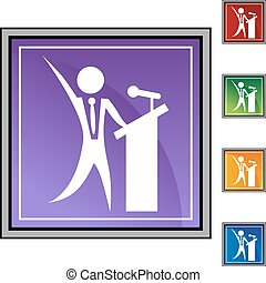 Public Speaker - Chart businessman web button isolated on a ...