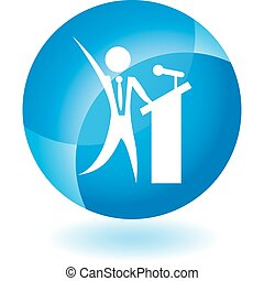 Public Speaker - Chart businessman web button isolated on a...