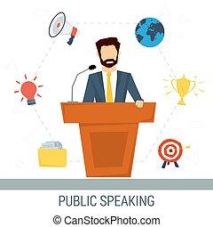 Public speaker from tribune