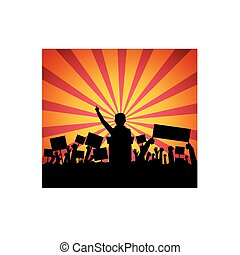 Public speaker on podium in front of a crowd