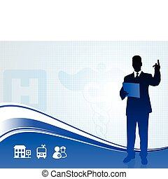 Public speaker silhouette on medical report background