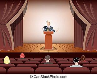 Public speaker speaking to microphones on stage