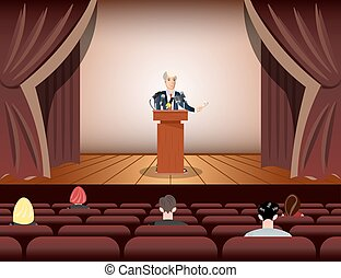 Public speaker speaking to microphones on stage