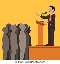 Public speaker. Vector flat cartoon