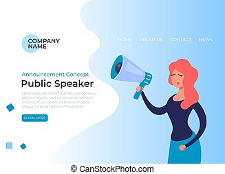 Public speaker woman banner poster. Vector flat graphic ...