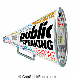 Public Speaking words on a 3d bullhorn or megaphone offering advice, tips or expert training on delivering a speech at an event or meeting