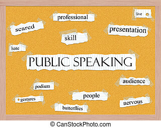 Public Speaking Corkboard Word Concept with great terms such...