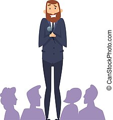 Public speaking fear. Man with microphone in front of audience. Frightened male with phobia speaks from stage vector illustration