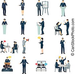Public Speaking Flat Icons Set - Public speaking skills flat...