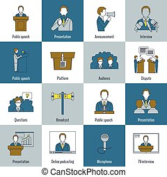 Public speaking icons flat line - Public speaking flat line...