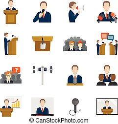 Public speaking icons set with business presentation...