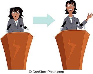 Public speaking training - Anxious businesswoman character...