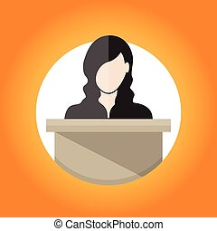 Public Speaking - Vector illustration of a female public...