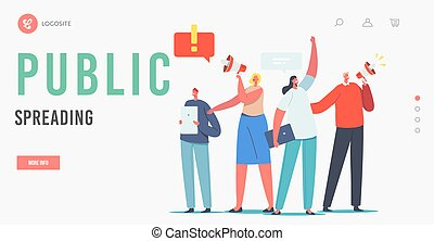 Public Spreading Landing Page Template. Characters Holding Digital Devices and Megaphone Call to Sign Online Petition. Law-abiding Dwellers Execute their Rights. Cartoon People Vector Illustration