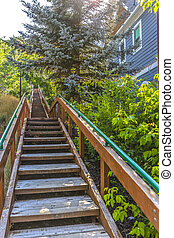 Public stairs in houseing area going uphill