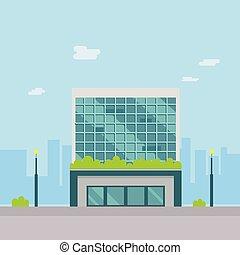 public, style., rue, moderne, illustration., bâtiments, paysage, vecteur, plat, urbain, design.
