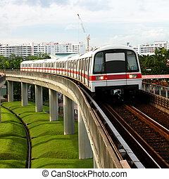 Public Subway Transport on Concrete Bridge View