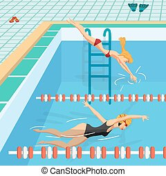Public swimming pool inside with blue water. Young women in sports swimsuit swims in the pool. Flat cartoon vector illustration