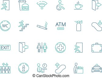 Public symbols. Navigate pictogram disabled toilet wifi bathroom vector public icon collection