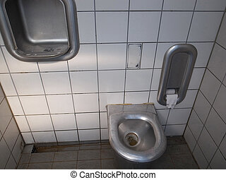 Public toilet, Germany - Row automatic urinals in a modern...