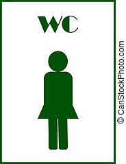 Public toilet sign template and text WC.