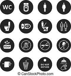 Public toilet vector icons. Wc restroom simple symbols