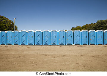 Public toilets in a row