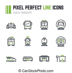 Public transport 12 icon set