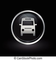 Public transport bus icon inside round silver and black emblem