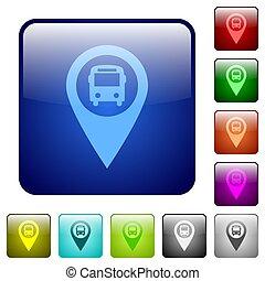 Public transport GPS map location color square buttons