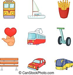 Public transport icons set, cartoon style