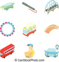 Public transport icons set, cartoon style