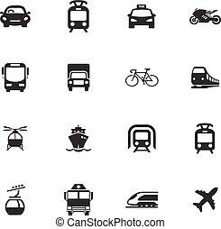 Public transport icons set for web design