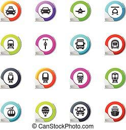 Public transport icons set - Public transport pointer on the...