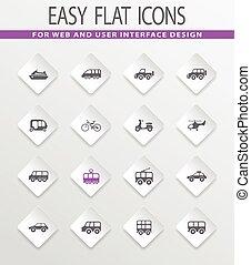 Public transport icons set - Public transport easy flat web...
