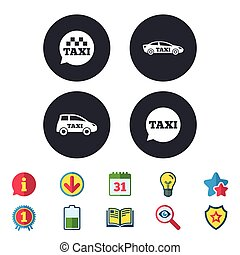 Public transport icons. Taxi speech bubble signs.