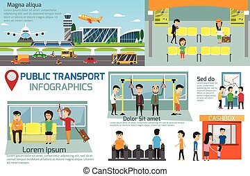 Public transport infographics. Detail of public transportation with commuters or passengers activities in subway and terminal. vector illustration.