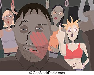 Public transport menace - Vector illustration of women...